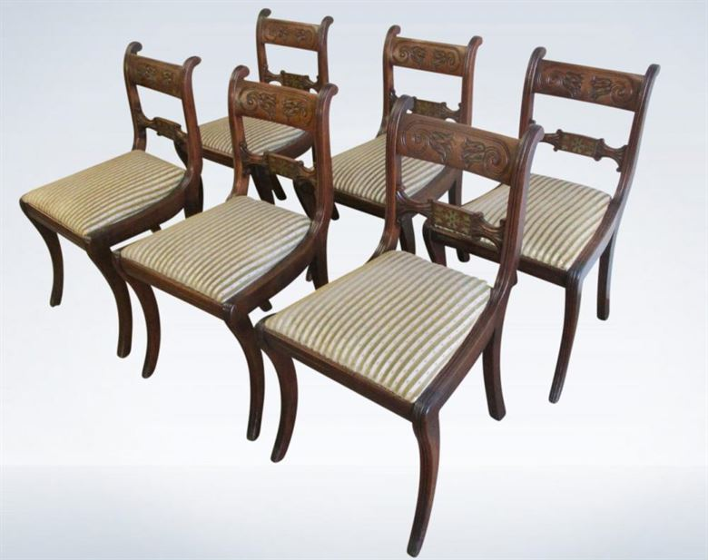 Set Of Six Regency Period Mahogany Dining Chairs Sabre Legs