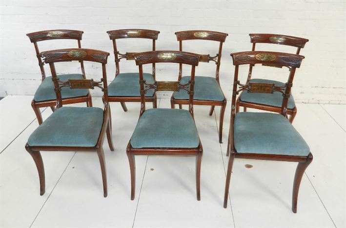 Set Six Original Antique Regeny Chairs - Set 6 Period Regency Mahogany And Brass Inlaid Bar Back Sabre Leg Dining Chairs
