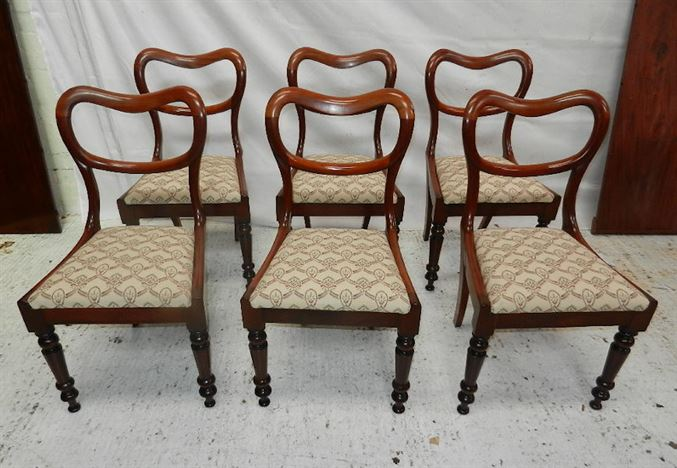 Set Six Victorian Chairs - Set 6 Early Victorian Mahogany Dining Chairs