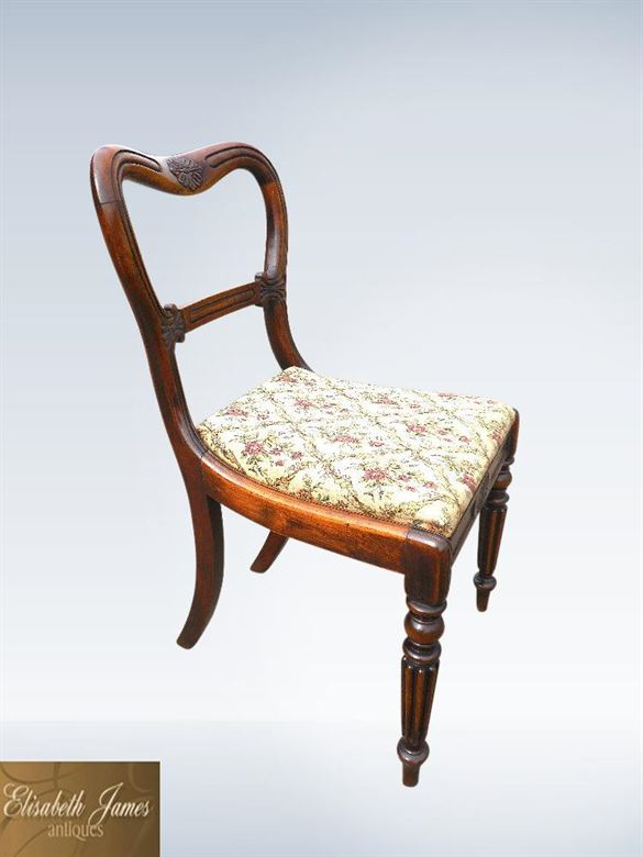 Set Six Antique Regency Period Dining Chairs With Reeded Legs