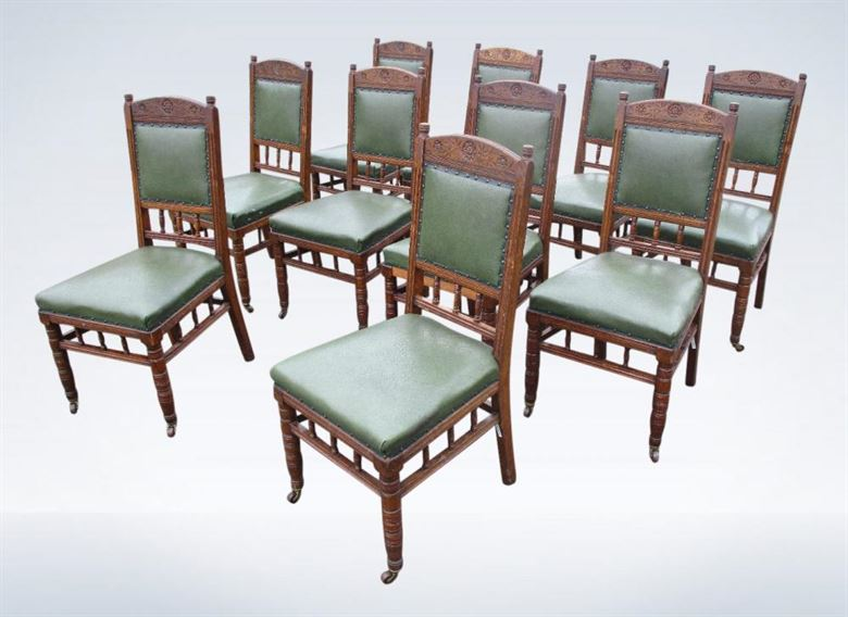 Set Ten Antique Oak Dining Chairs Victorian Arts & Crafts
