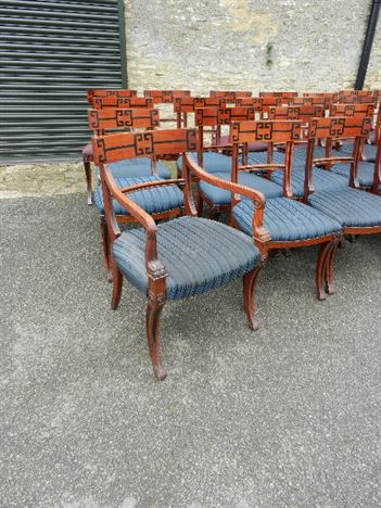Set Thirty Two Antique Chairs - Set 32 Regency Revival Dining Boardroom Mahogany Chairs