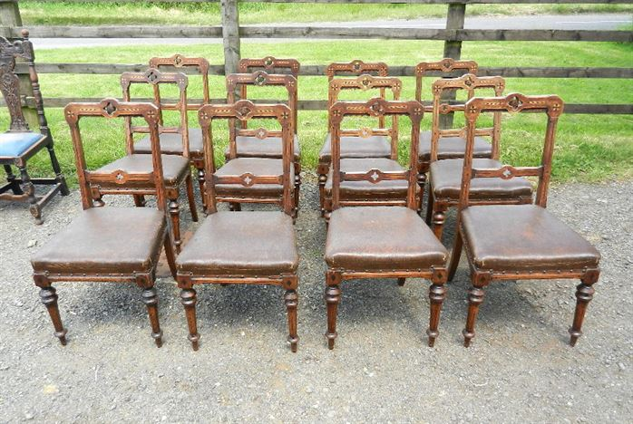 Set Twelve Arts & Crafts Oak Chairs - Original Set Of 12 Late 19th Century Oak Framed Dining Chairs