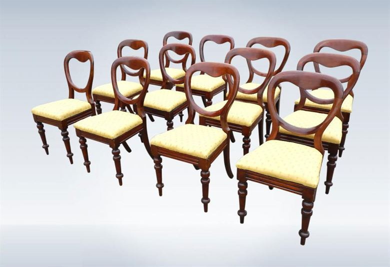 Set Twelve Classic Victorian Mahogany Antique Dining Chairs