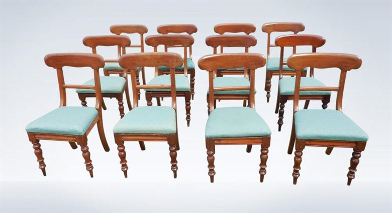Set Twelve Early Victorian Bar Back Mahogany Dining Chairs