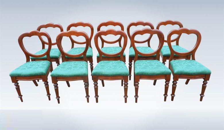 Set Twelve Victorian Mahogany Antique Dining Chairs