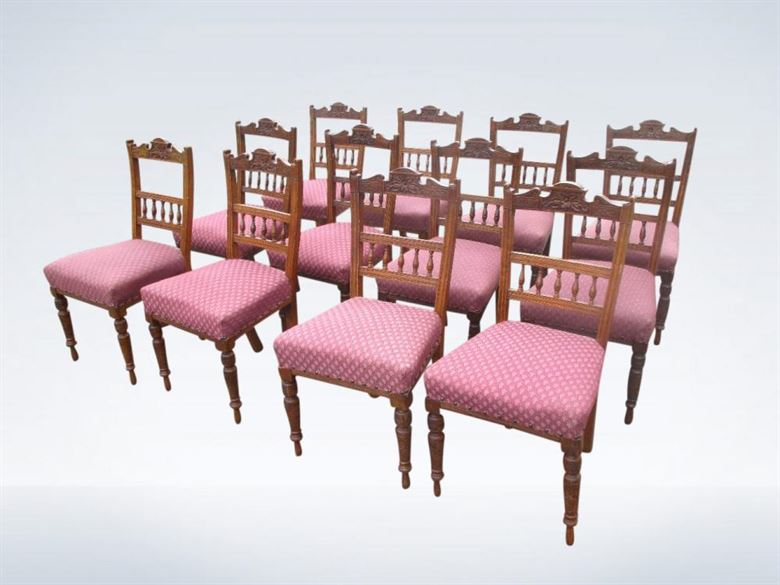 Set Twelve Antique Oak Dining Chairs Victorian Arts & Crafts