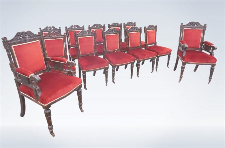 Set Twelve Antique Victorian Oak Dining Chairs Arts Crafts