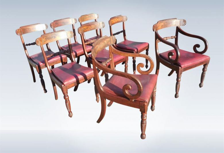 Set Antique Georgian Chairs - Set Of Eight Original Regency Period Mahogany Dining Chairs With Carvers