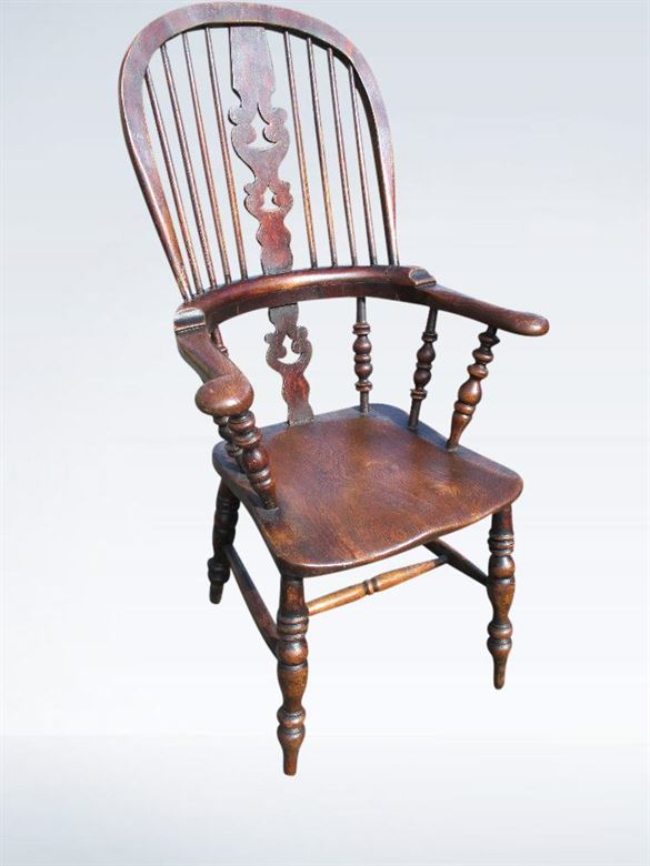 Antique Country Chairs - Set Of Eight High Back Victorian Windsor Chairs