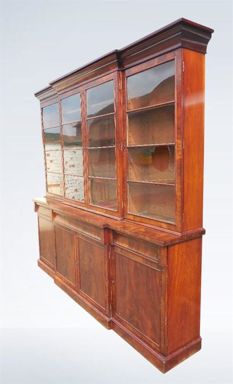 Antique Library Bookcase - Shallow Depth 9ft (nearly 3 Metres) Late Regency Mahogany Library Bookcase