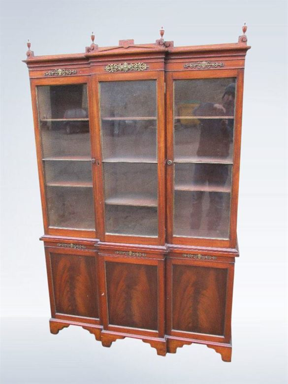 Small Proportioned 5ft Wide Regency Revival Triple Breakfront  Library Bookcase
