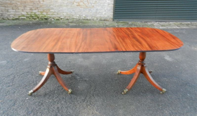 Small Proportioned Late 19th Century Regency Mahogany Twin Pedestal Antique Dining Table