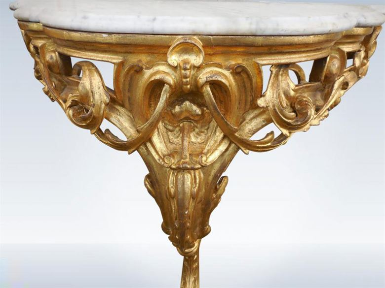 Small Proportioned Pair Of 19th Century Victorian Rococo Gilt Hall Consoles With Marble Tops