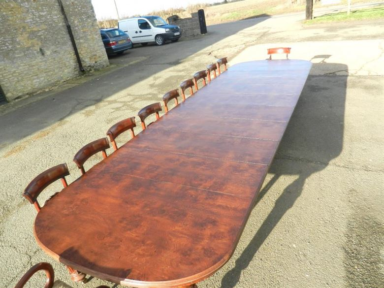Stunning And Immense Sized 6 Metre Victorian Burr Pollard Oak Antique Dining Table