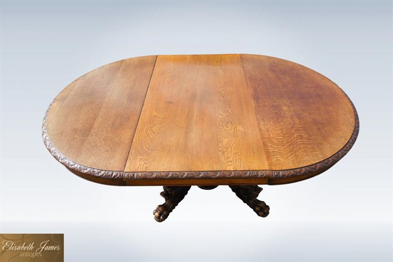 Super 10ft 12 Seater 19th Century Victorian Oak Carved Extending Round Antique Ding Table