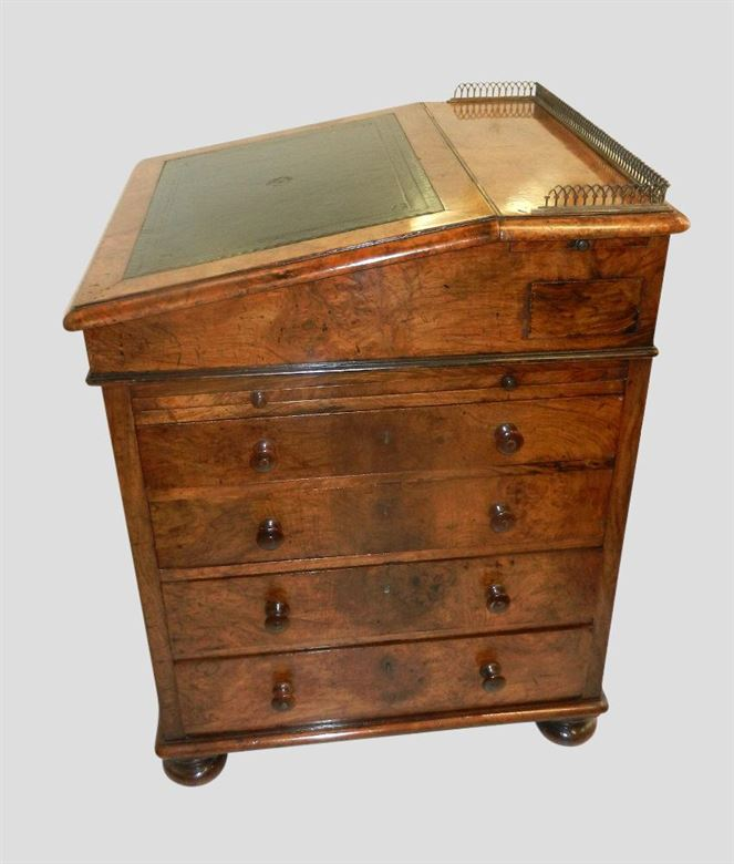 Superb Early 19th Century Post Regency Antique Burr Walnut Davenport By Famous London Makers Holland & Son