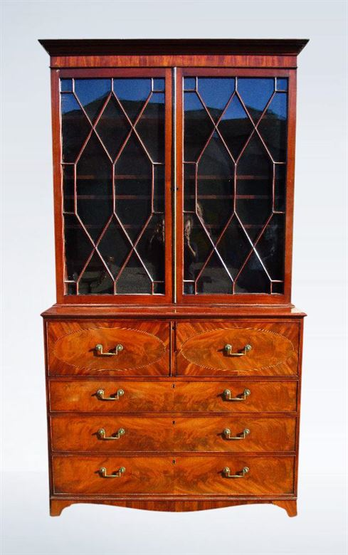 Superb Late Sheraton George III Secretaire Library Bookcase Desk