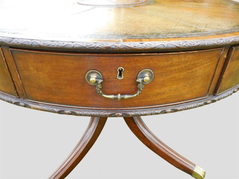 Superb Antique Original Regency Period Rent Drum Table Of Small Proportions
