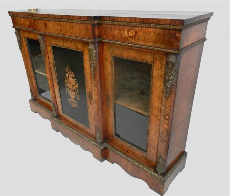 Top Quality Victorian Walnut Credenza Cabinet With Brass Ormolu And Inlays