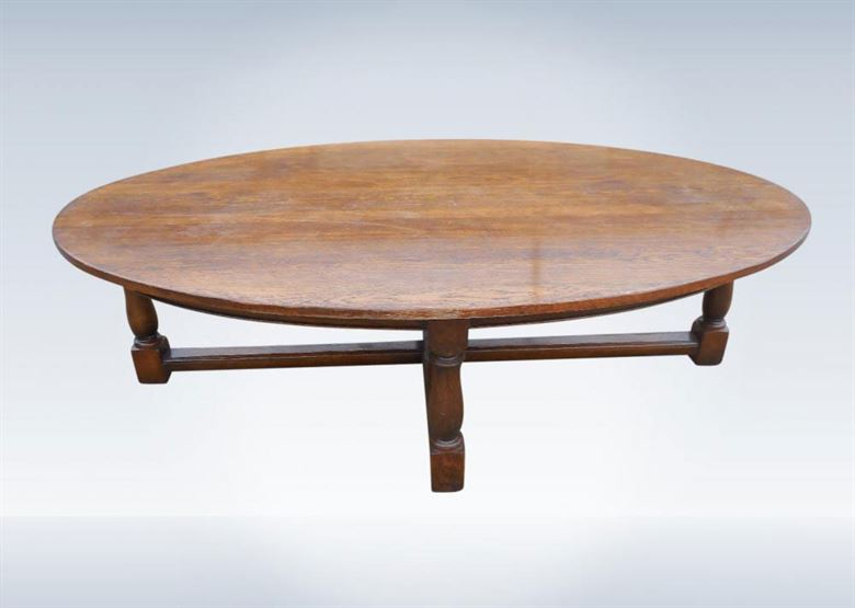 Very Large Oval Formed Oak Dining Table In Jacobean Manner