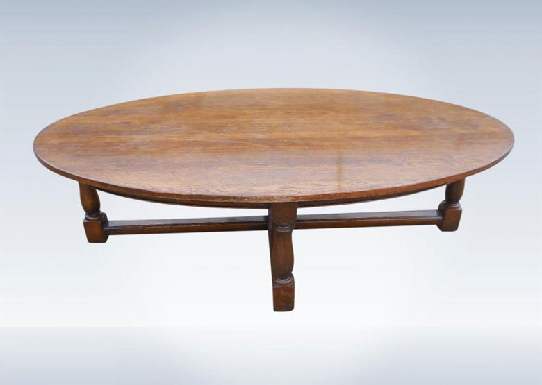 Large Oval Oak Antique Dining Refectory Table