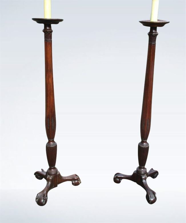 Pair Antique Standard Lamps Georgian