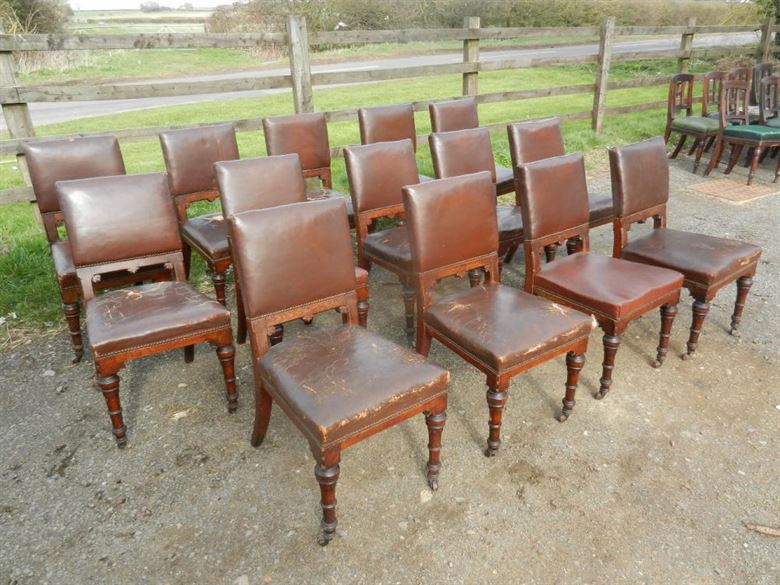 Very Solid Set Of Fourteen Late 19th Century Arts & Crafts Influenced Oak Dining Chairs