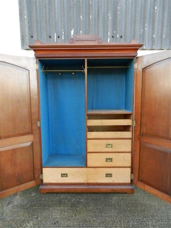Victorian Mahogany Fitted Wardrobe - Two Door Early Victorian Mahogany Wardrobe With Fitted Drawers And Slides