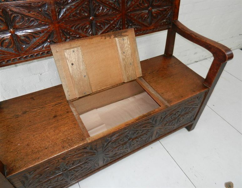 Victorian Oak Hall Settle - Jacobean Carved Late 19th Century Box Seated Settle