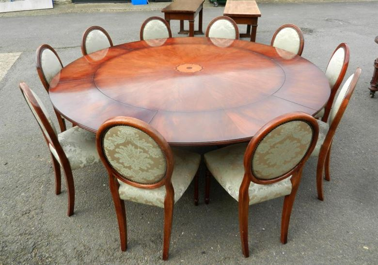 Antique furniture warehouse vintage dining set of large for Large dining table seats 10