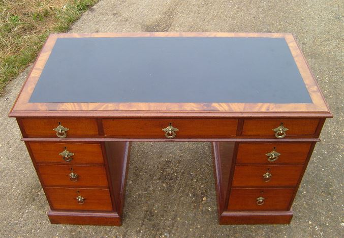 Antique 4ft Victorian Desk - Victorian Mahogany Pedestal Writing Desk With Leather  Top - ANTIQUE FURNITURE WAREHOUSE - Antique 4ft Victorian Desk - Victorian
