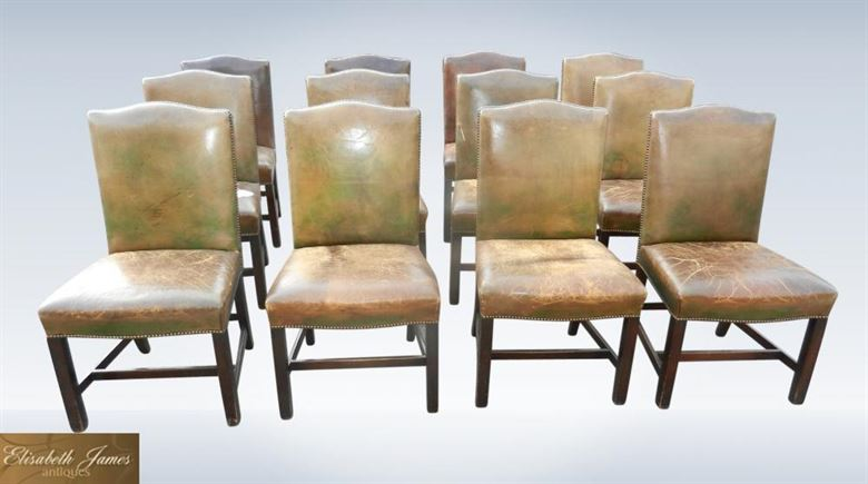 Antique Dining Chair Set Of 12 Georgian Revival High Back Leather Dining Chairs