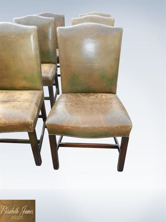 Set Twelve Antique Leather Dining Chairs