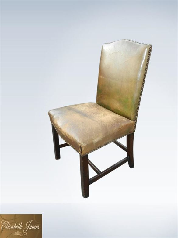 Set twelve antique leather dining chairs for Leather back dining chairs