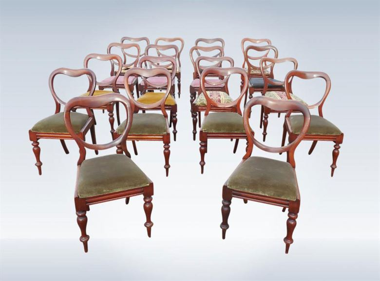 Antique Dining Chairs - Large Set Of Sixteen Early Victorian Mahogany  Balloon Back Dining Chairs - Set 16 Antique Post Regency Early Victorian Mahogany Dining Chairs
