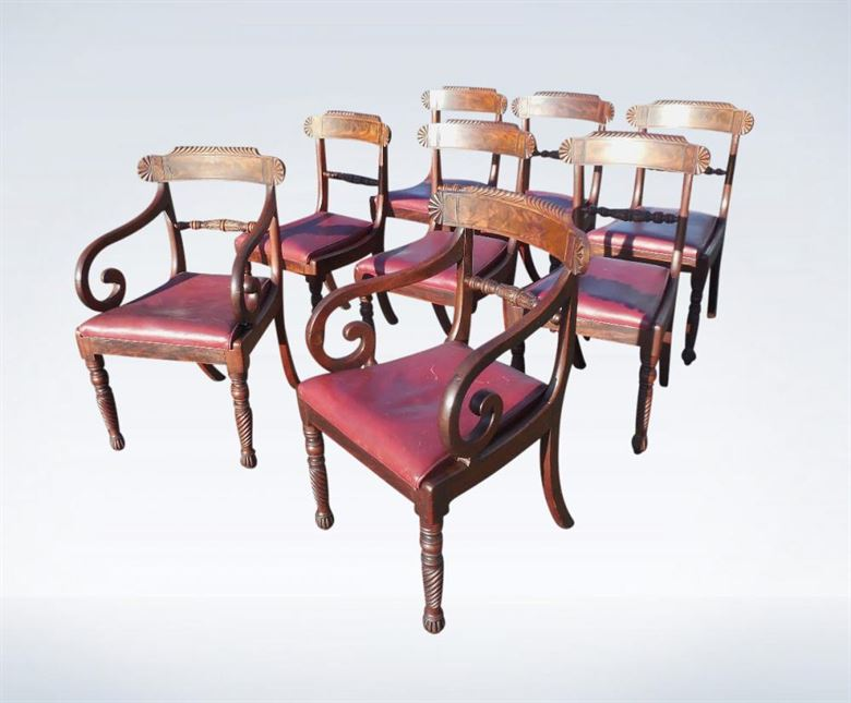 Antique Dining Chairs Mahogany Bar Back Late Regency