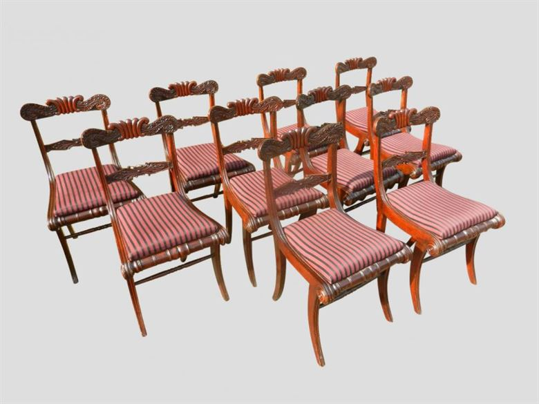 Antique Dining Chairs | Set 10 Regency Mahogany Sabre Leg Dining Chairs