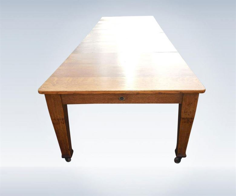 Antique Dining Table   12ft Arts U0026 Crafts Antique Wind Out Dining Table