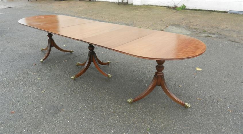 Antique Georgian Pedestal Dining Table - 11ft Regency Revival Mahogany Triple Pedestal Dining Table