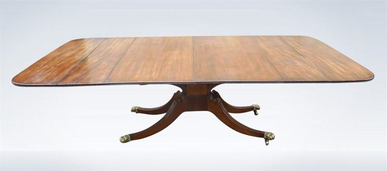 Antique Georgian Regency Period Extending Pedestal Dining Table