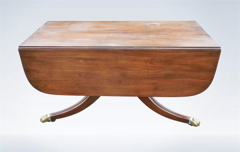 Original Regency Mahogany Extending Pedestal Table