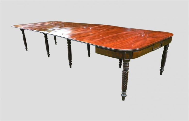 Antique Georgian Tables | Large Original Regency Mahogany Dining Table Of Patented Wilkinson Concertina Action