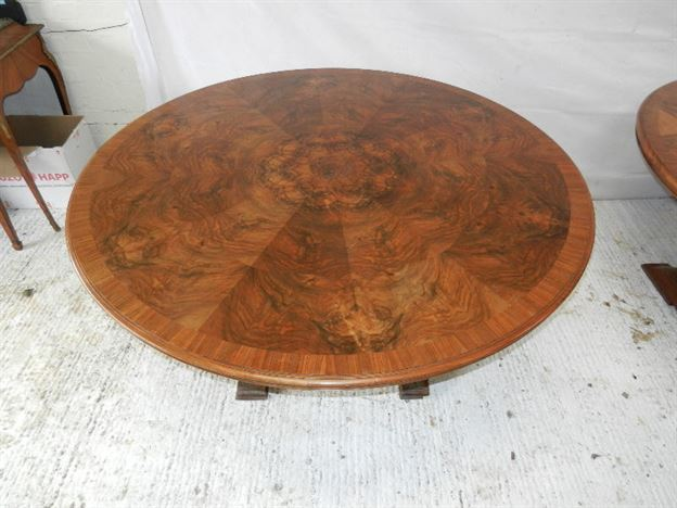 Antique Large Round Walnut Tables - Pair Burr Walnut Centre Tables Sold As Pair Or Individually