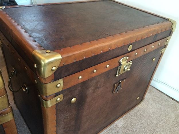 antique military style leather trunk