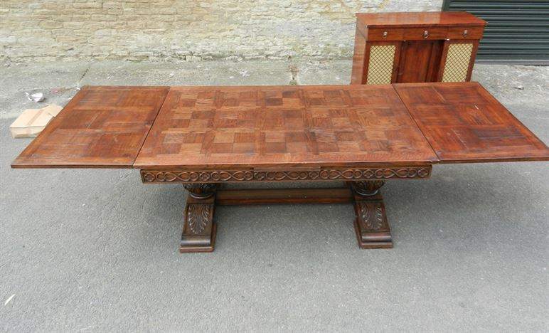 Antique Oak Drawleaf Refectory Table - Large Jacobean Carved Oak Tresle Pedestal Draweal Refectory Table