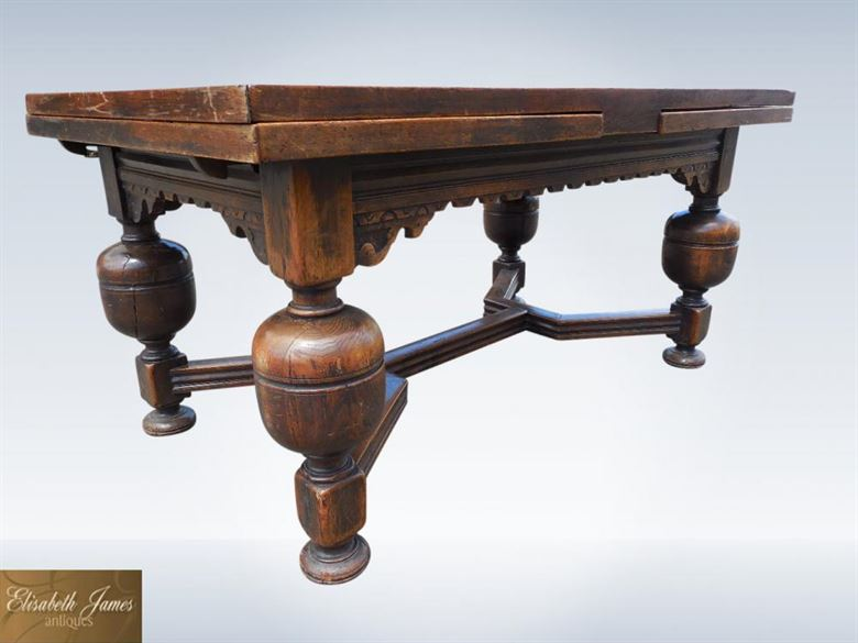 Antique Oak Extending Refectory Table | Large 10ft 19th Century Jacobean Oak Drawleaf Refectory Table