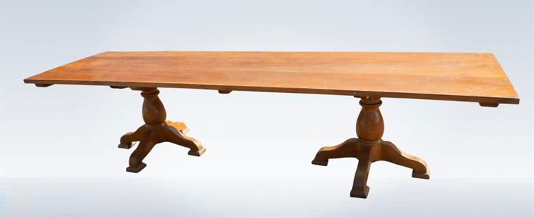3 Metre Antique Oak Solid Top Refectory Table