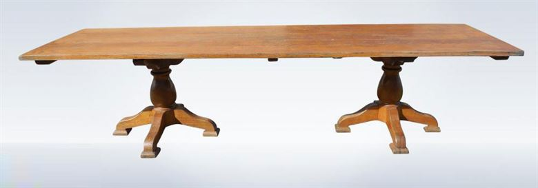 Large 3 metre antique oak solid top refectory table for 10 seater farmhouse table