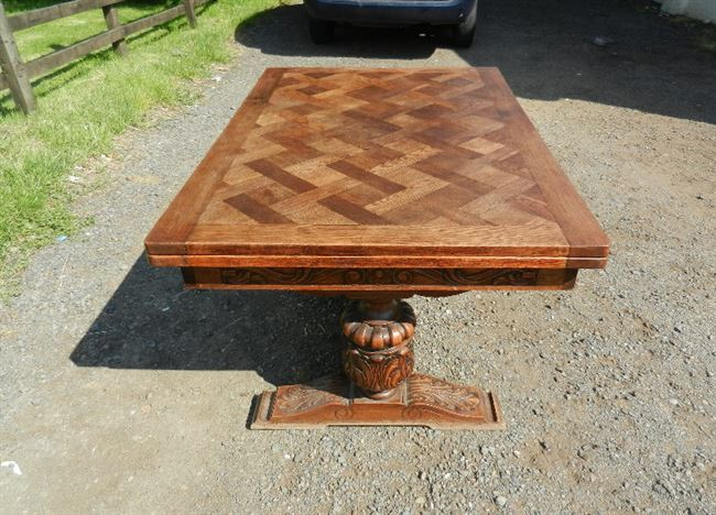 Antique Oak Refectory Table - Parquet Top 8ft Draw Leaf Refectory Table To Seat 10 People